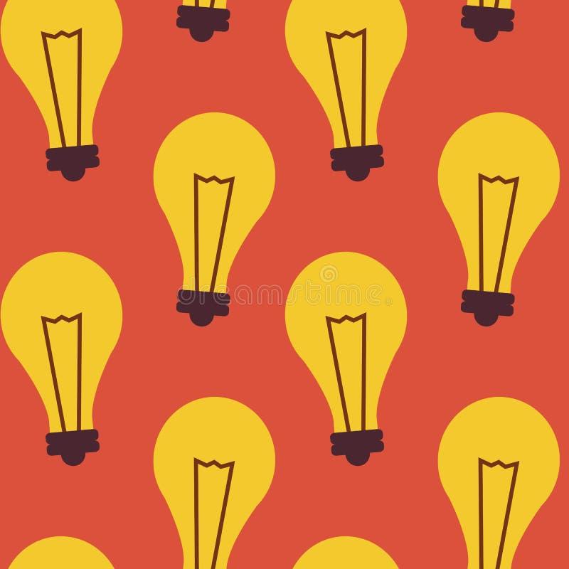 Flache nahtlose Muster-Geschäfts-Ideen-Lampe lizenzfreie abbildung