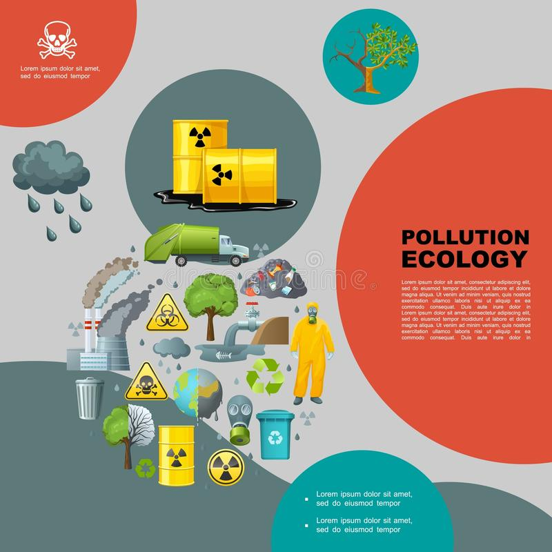 Flache Natur-Verschmutzungs-Schablone lizenzfreie abbildung