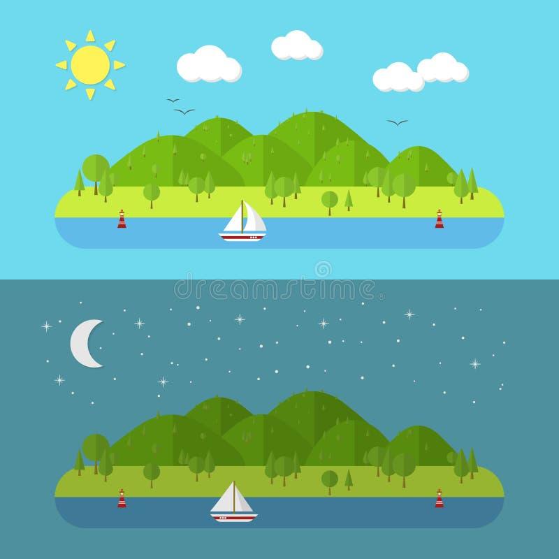 Flache Naturlandschaft Vektorillustration mit Sonne und Mond lizenzfreie abbildung