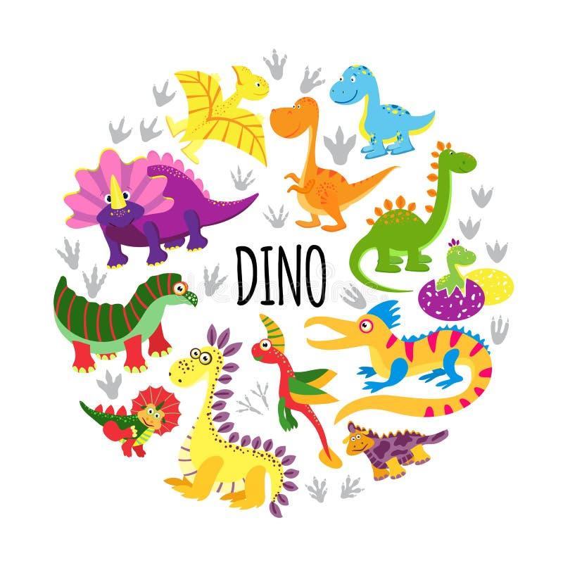 Flache nette lustige Dinosaurier ringsum Konzept vektor abbildung