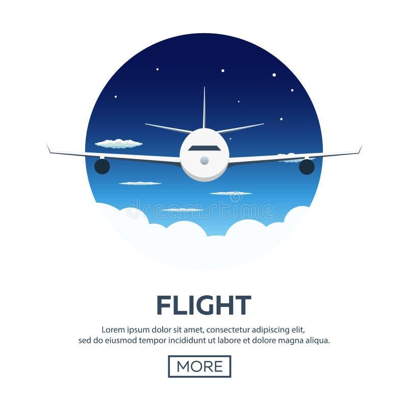 Flache Netzfahnen auf dem Thema der Reise durch Flugzeug, Ferien, Abenteuer Flug in der Stratosphäre Um die Welt lizenzfreie abbildung