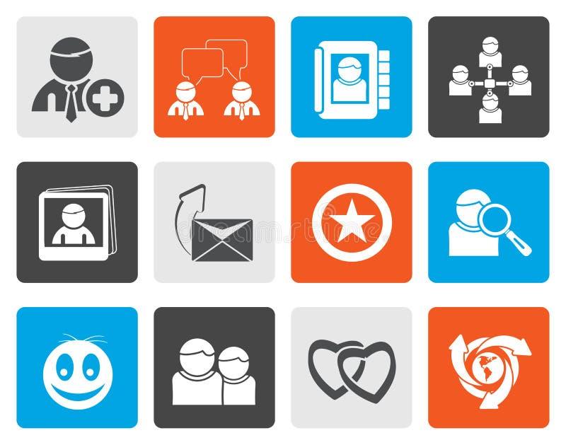 Flache Online-Community-und des Sozialen Netzes Ikonen stock abbildung