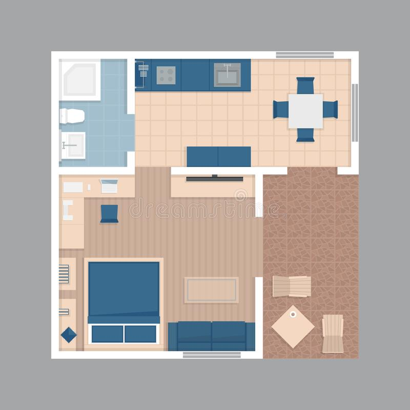 Flache Projektionswohnung des Vektors Plan des kleinen Hauses mit furnitur stock abbildung