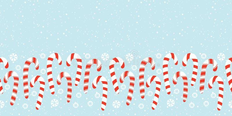 Flache rote und weiße Feiertags-Weihnachts-und neues Jahr-Zuckerstange-und -schneeflocken-horizontaler Vektor-nahtlose Grenze lizenzfreie abbildung