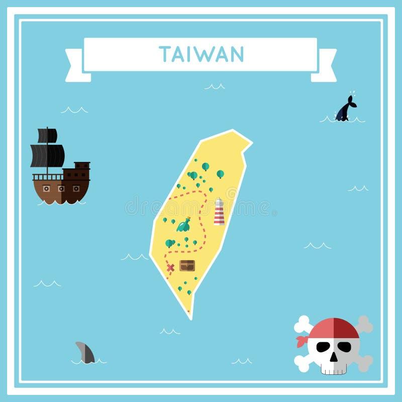 Flache Schatzkarte von Taiwan, die Republik China lizenzfreie abbildung