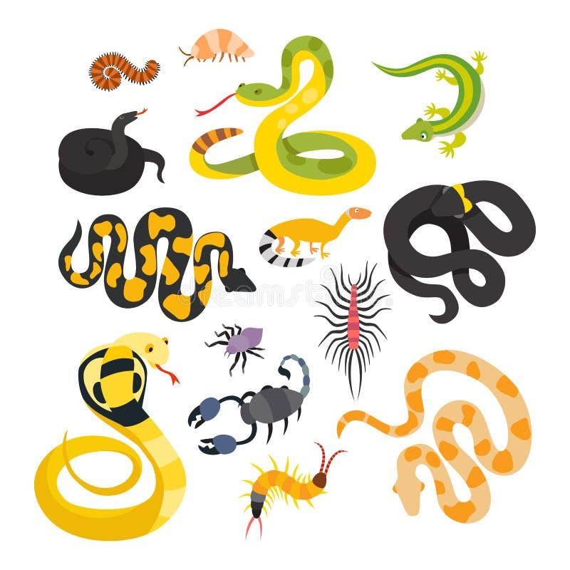 Flache Schlangen des Vektors und andere Gefahrentiere lizenzfreie abbildung
