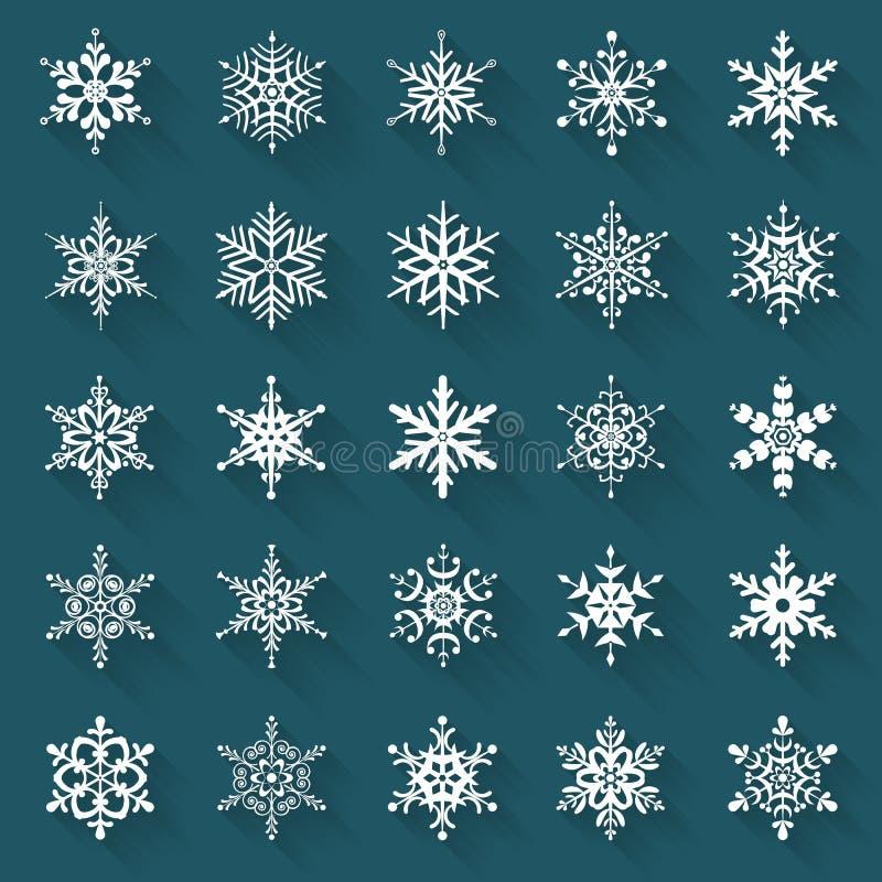Flache Schneeflocken Vektorikonen stellten ein stock abbildung