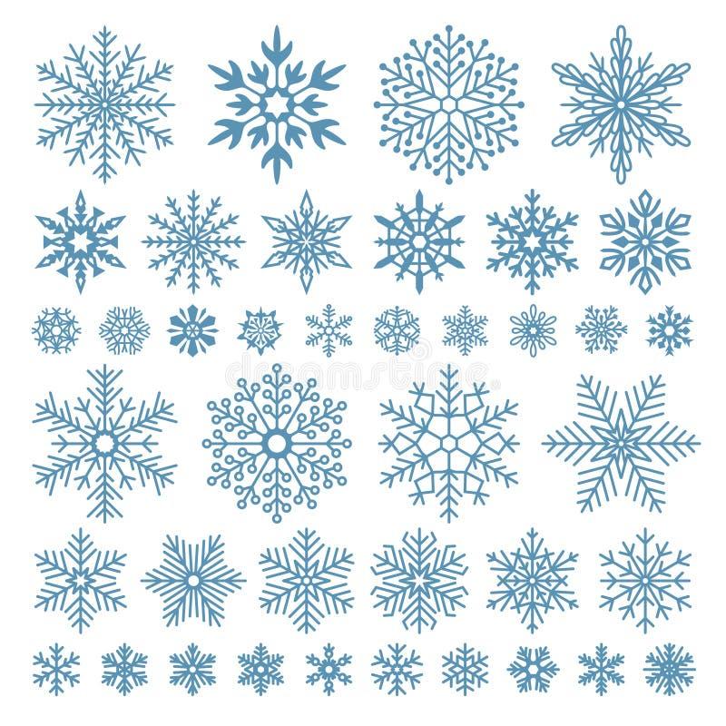 Flache Schneeflocken Winterschneeflockenkristalle, Weihnachtsschneeformen und bereifter kühler Ikonenvektorsymbolsatz lizenzfreie abbildung