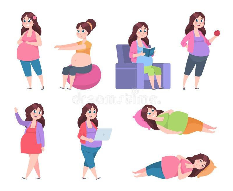 Flache schwangere Frau Gesunde Übungen für Mütter, Schwangerschaftsdiät, die glückliche junge lesende Mutter, das Schlafen und da stock abbildung