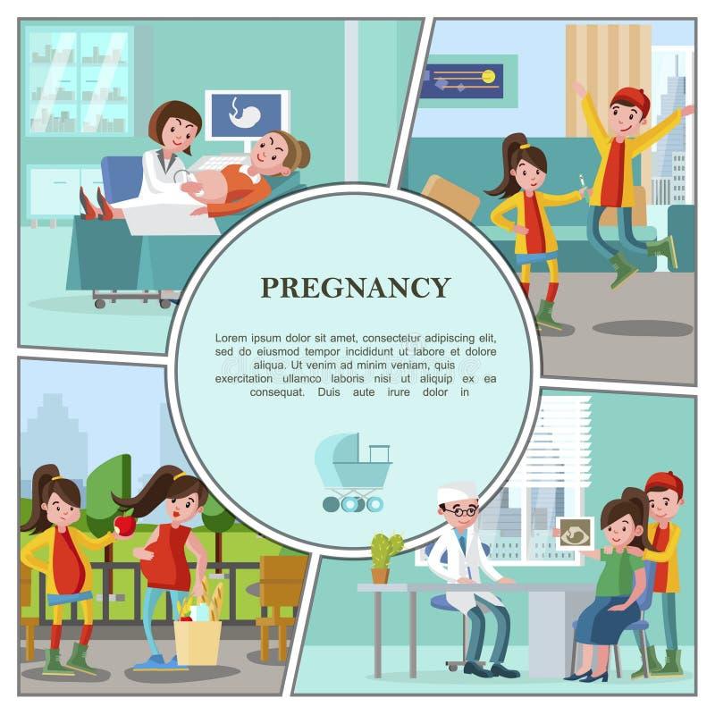 Flache Schwangerschafts-buntes Konzept vektor abbildung
