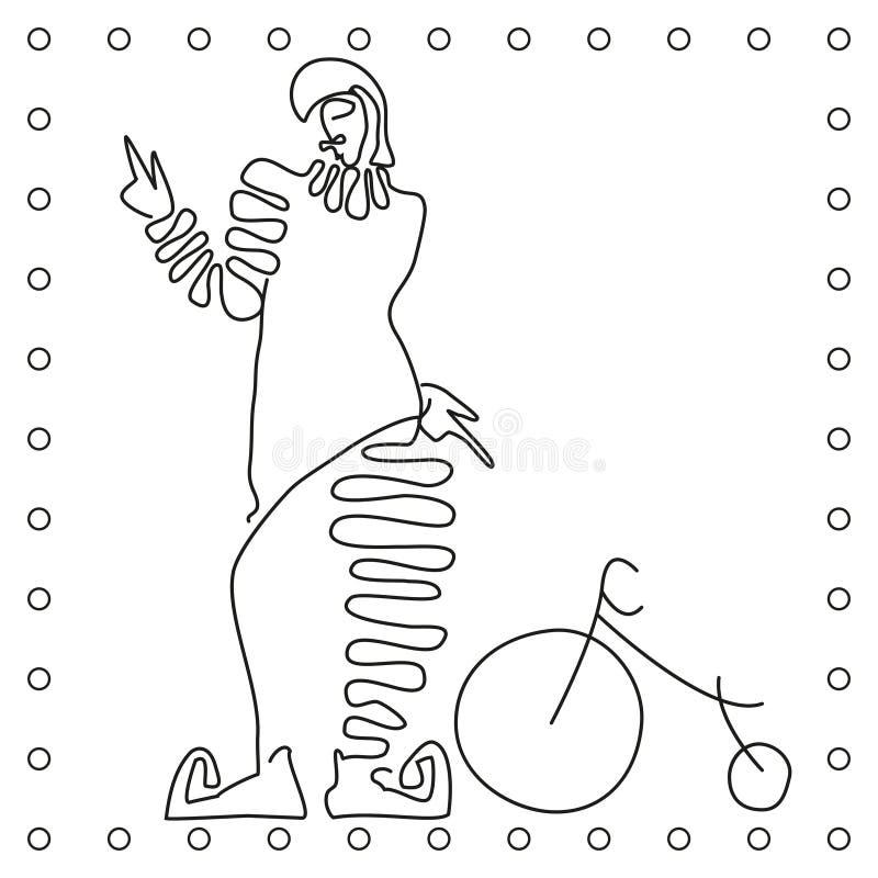 Flache Schwarzweiss-Linie Handzeichnungs-Clownradfahrer vektor abbildung