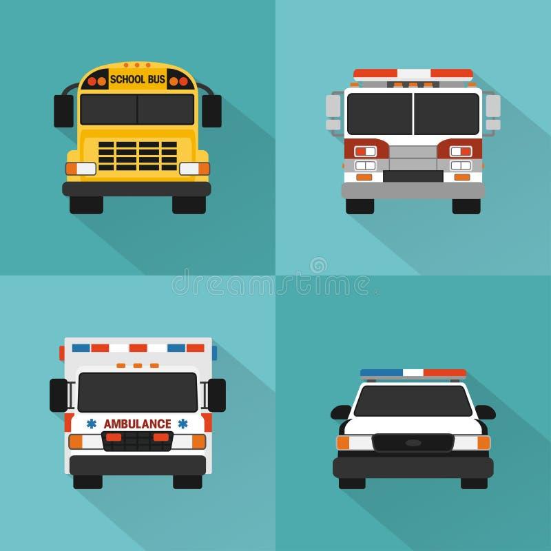 Flache Service-Autos eingestellt Polizei, Krankenwagen, Löschfahrzeug, Schulbus stock abbildung
