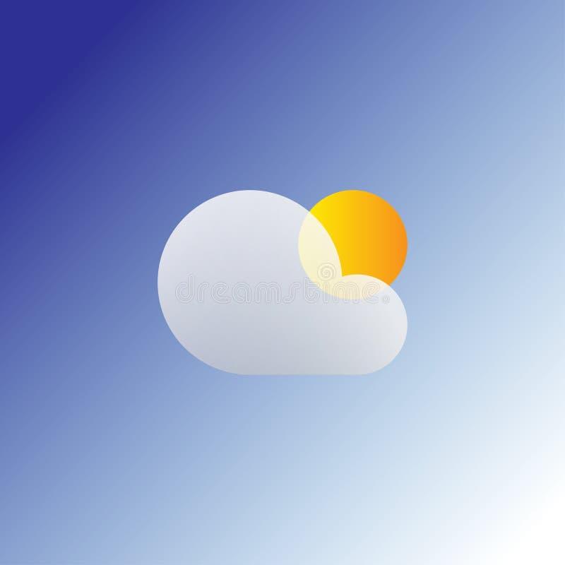Flache Sonnen- und Wolkenwetternetzikone Lokalisierte Sommerikone auf einem blauen Hintergrund vektor abbildung