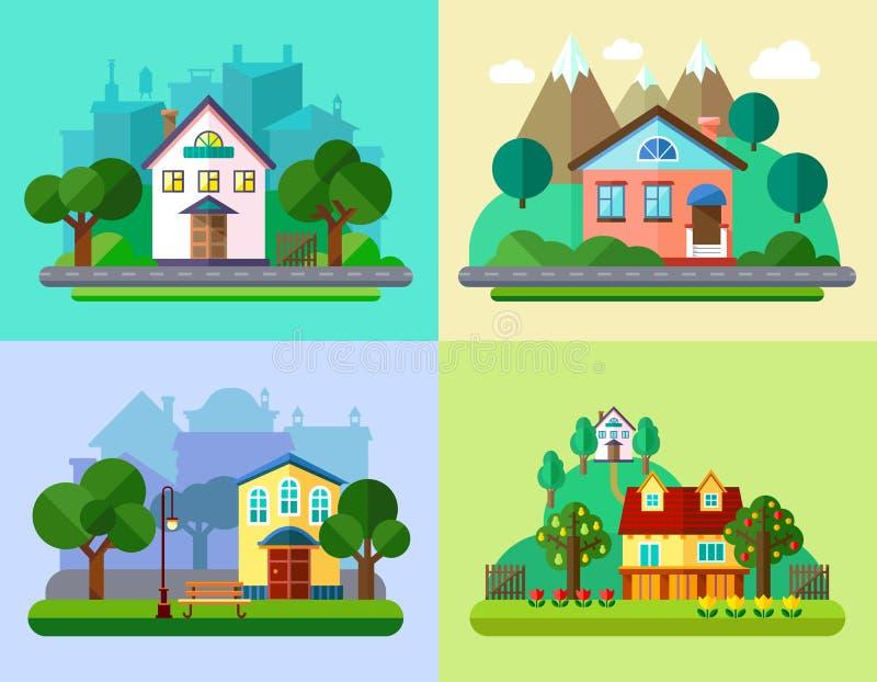 Flache städtische und Dorf-Landschaften vektor abbildung