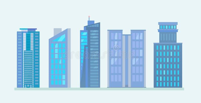 Flache Stadt-Wolkenkratzer-Geschäfts-Gebäude lizenzfreie abbildung
