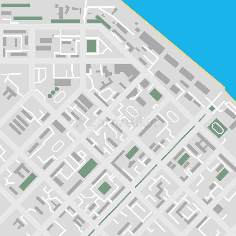 Flache Stadtplanillustration des Vektors unmarkiert vektor abbildung