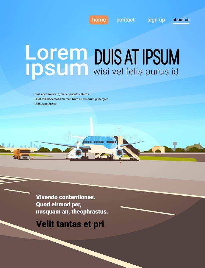 Flache Startaufwartung des Flughafenabfertigungsgebäudeflugzeugfliegens, zum Kopie des Passagierstadtbild-Hintergrundes zu bestei lizenzfreie abbildung