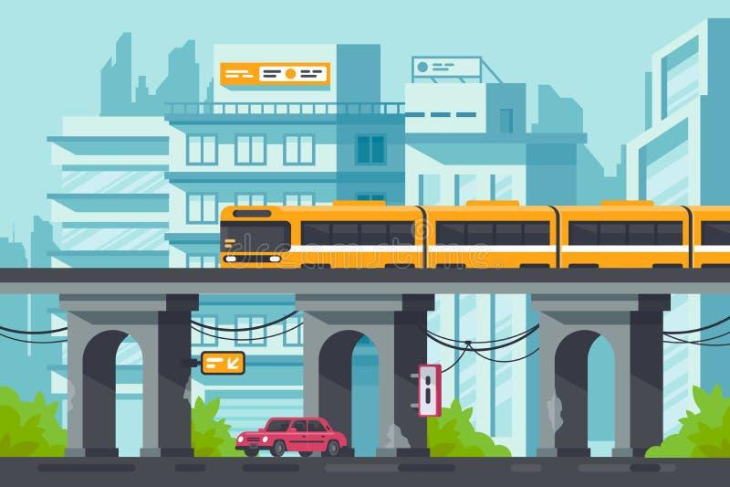 Flache Straße mit Straße und Auto unter erhöhter Metro mit elektrischem Zug lizenzfreie abbildung