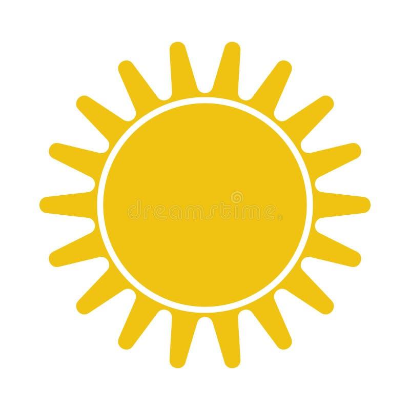 Flache Sun-Ikone Sun-Piktogramm Schablonenvektorillustration stock abbildung