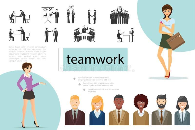Flache Teamwork-Zusammensetzung stock abbildung