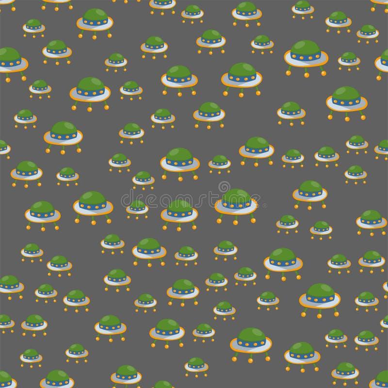 Flache UFO-Musterplatte Hintergrundraumschifftechnologie-Schiffsrakete des nahtlosen Musters des Weinleseartvektors in der auslän vektor abbildung