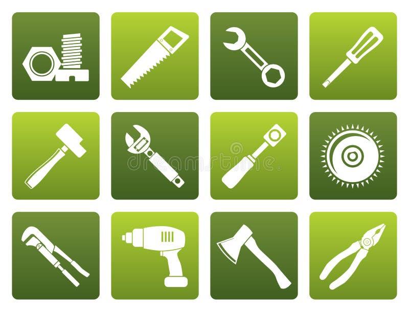 Flache unterschiedliche Art von Werkzeugikonen vektor abbildung
