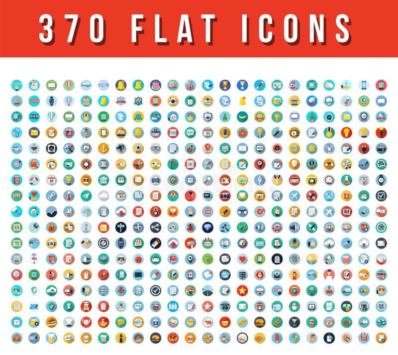 370 flache Vektor-Ikonen lizenzfreie abbildung