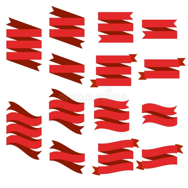 Flache Vektorbandfahnen flach, Satz rote Bandillustrationen lokalisiert auf weißem Hintergrund lizenzfreie abbildung