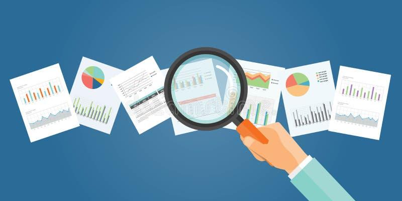 Flache Vektorfahne für analytischen Finanzdiagrammbericht und -Anlagengeschäft vektor abbildung