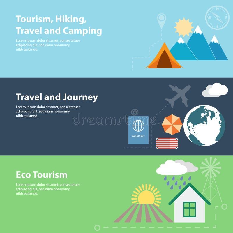 Flache Vektorfahnen mit Tourismus, Ferien stock abbildung