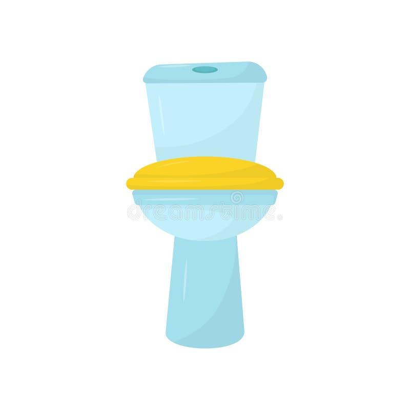 Flache Vektorikone der blauen keramischen Toilette mit gelbem Sitz Element für Promoplakat oder Fahne des Klempnerarbeitversorgun lizenzfreie abbildung