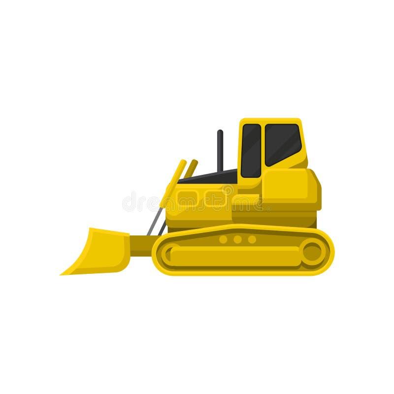Flache Vektorikone der gelben Planierraupe Leistungsfähiger Traktor mit breitem aufrechtem Blatt an der Front Schwere Bewegungsma vektor abbildung
