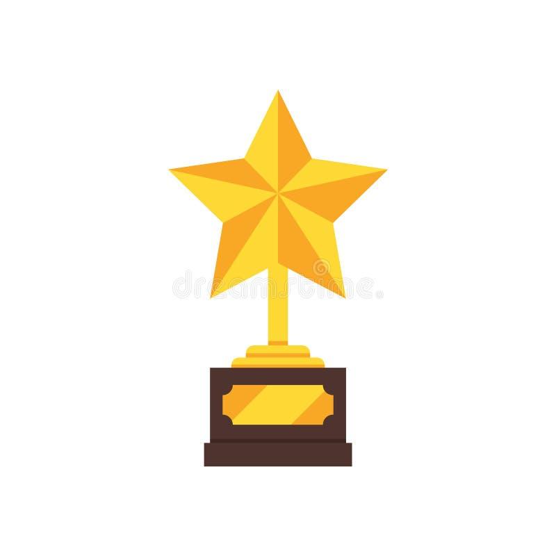 Flache Vektorikone der goldenen Trophäe in Form des Sternes Glänzender Preis Sieger ` s Belohnung lizenzfreie abbildung