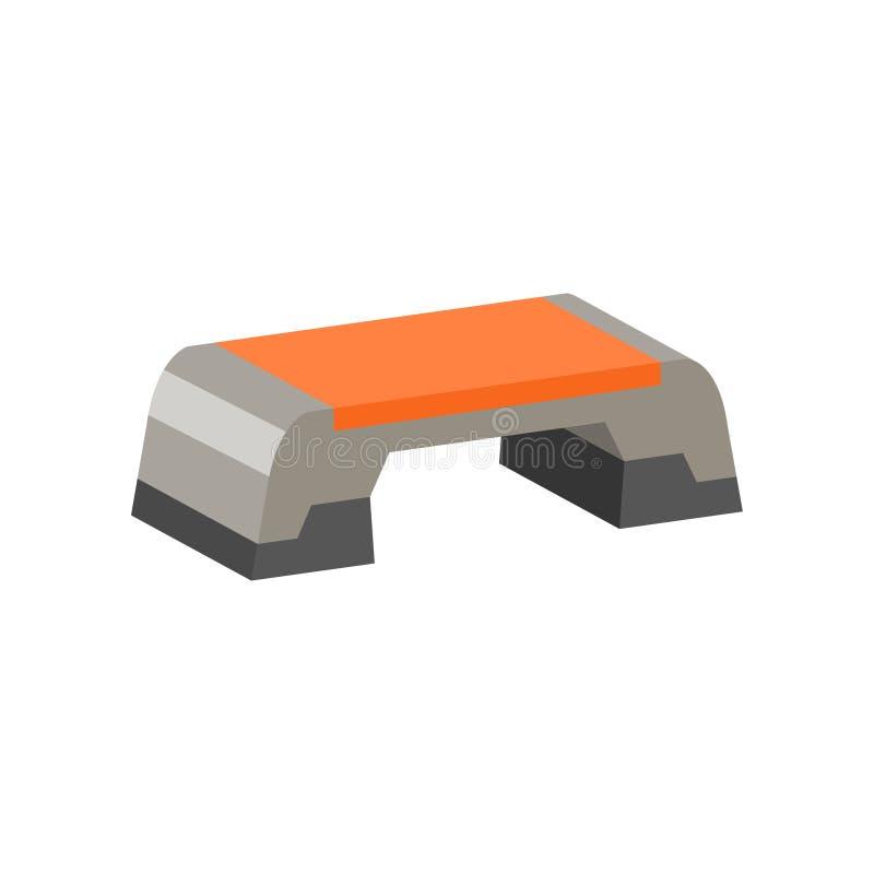 Flache Vektorikone der Schrittplattform Übungs-Ausrüstung Aerobicthema Element für Promoplakat oder Fahne von Sportwaren lizenzfreie abbildung