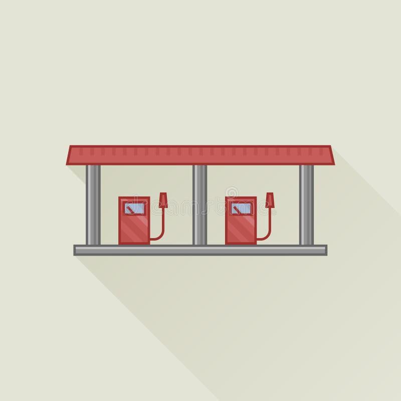 Flache Vektorikone der Tankstelle lizenzfreie abbildung