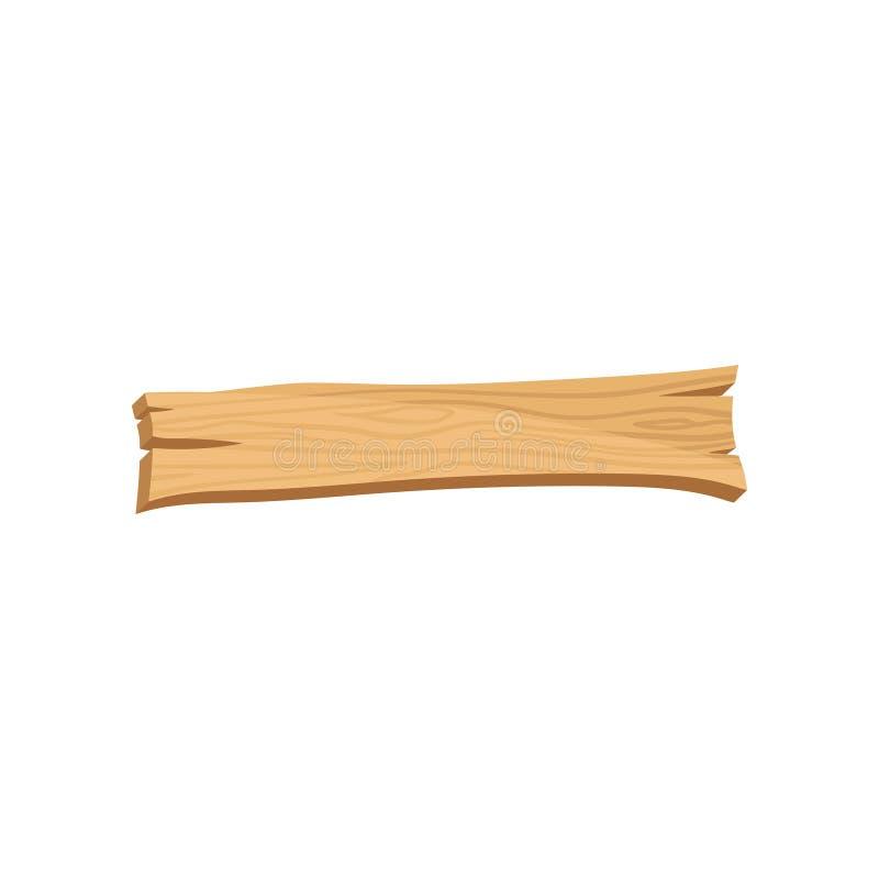 Flache Vektorikone des alten hölzernen Brettes mit Sprüngen und natürlicher Beschaffenheit Stück Holz, hartes Material Waldelemen stock abbildung