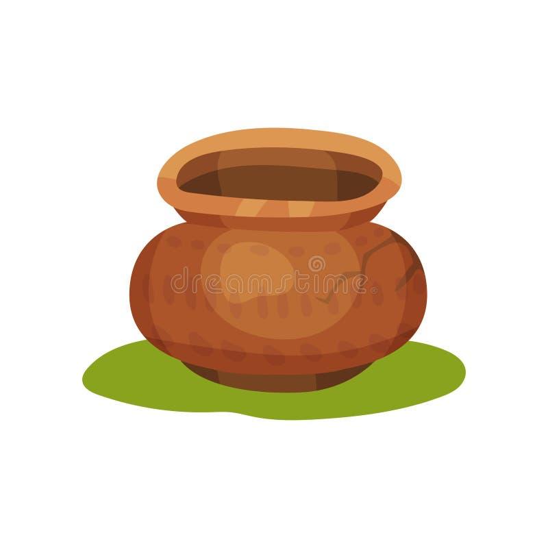 Flache Vektorikone des alten Tonwarenkrugs auf grünem Gras Tongefäß mit Verzierung und Sprung Keramische Tonware Steinzeitalterth stock abbildung