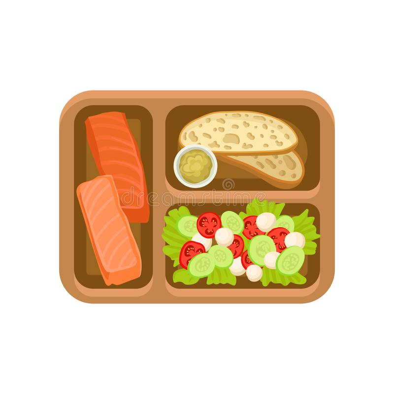 Flache Vektorikone des braunen Behälters mit geschmackvollem Lebensmittel Lachsfische, Brot mit Soße und Frischgemüsesalat Köstli stock abbildung