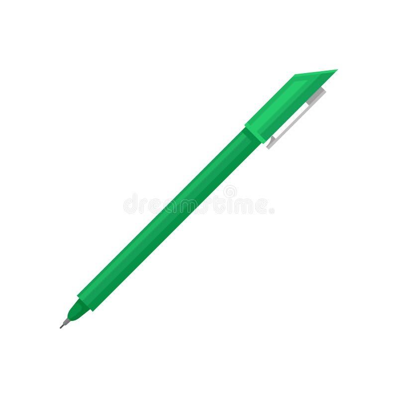 Flache Vektorikone des hellgrünen Kugelschreibers mit feinem Tipp und Kappe Instrument für das Schreiben und das Zeichnen Bürower vektor abbildung