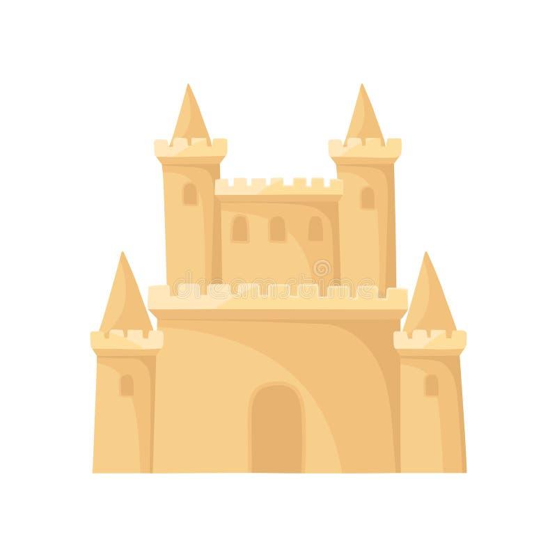 Flache Vektorikone des königlichen Sandburgs Festung mit Türmen Setzen Sie Ferien auf den Strand Element für Kinderbuch oder bewe lizenzfreie abbildung