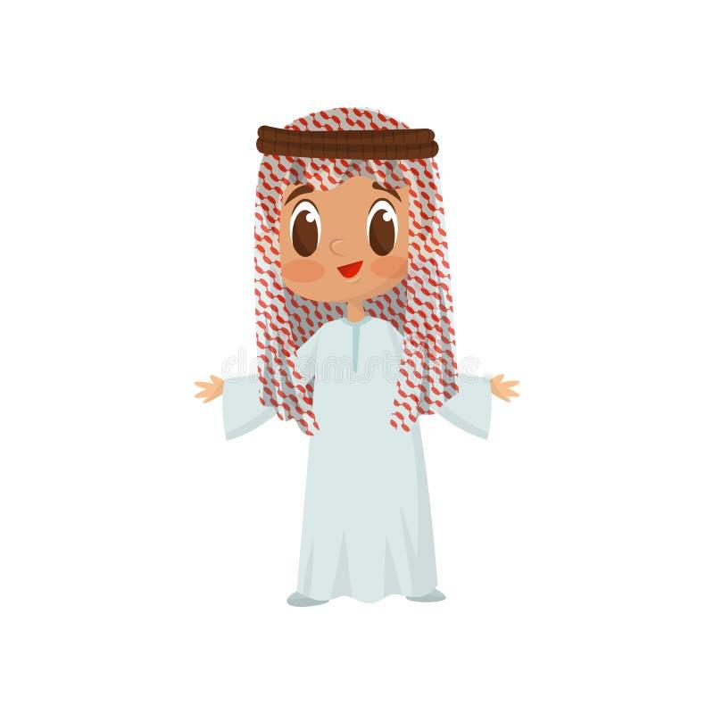 Flache Vektorikone des kleinen Jungen gekleidet als arabischer Scheich Nettes lächelndes Kind im langen Kittel und im Kopfschmuck vektor abbildung