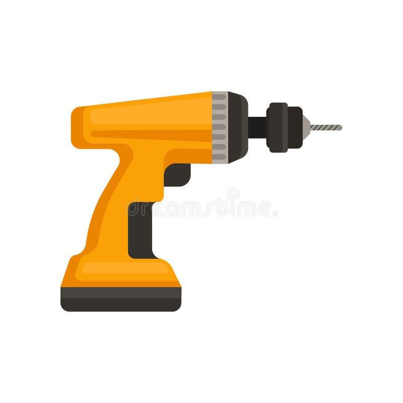 Flache Vektorikone des orange drahtlosen Bohrgeräts Elektrowerkzeug für Hauptreparatur oder Bau Element für Promoplakat oder stock abbildung