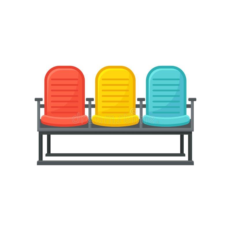 Flache Vektorikone von bequemen Stühlen für Passagiere Möbel für Warteraum am Flughafen Bank mit drei setzend vektor abbildung