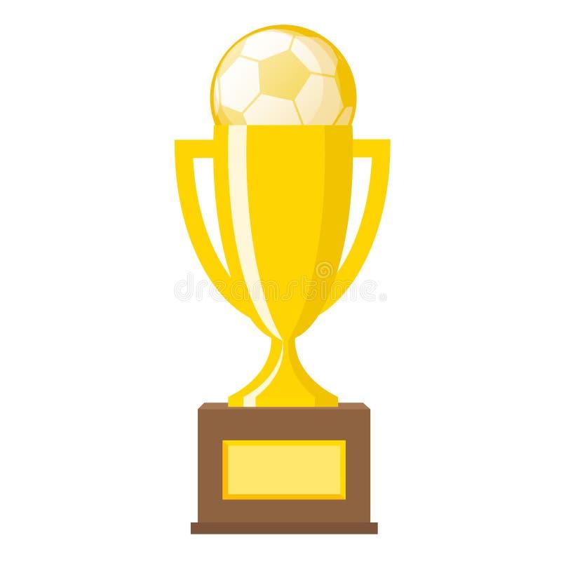 Flache Vektorikonen des Siegergoldtrophäengoldfußballballs für spor lizenzfreie abbildung