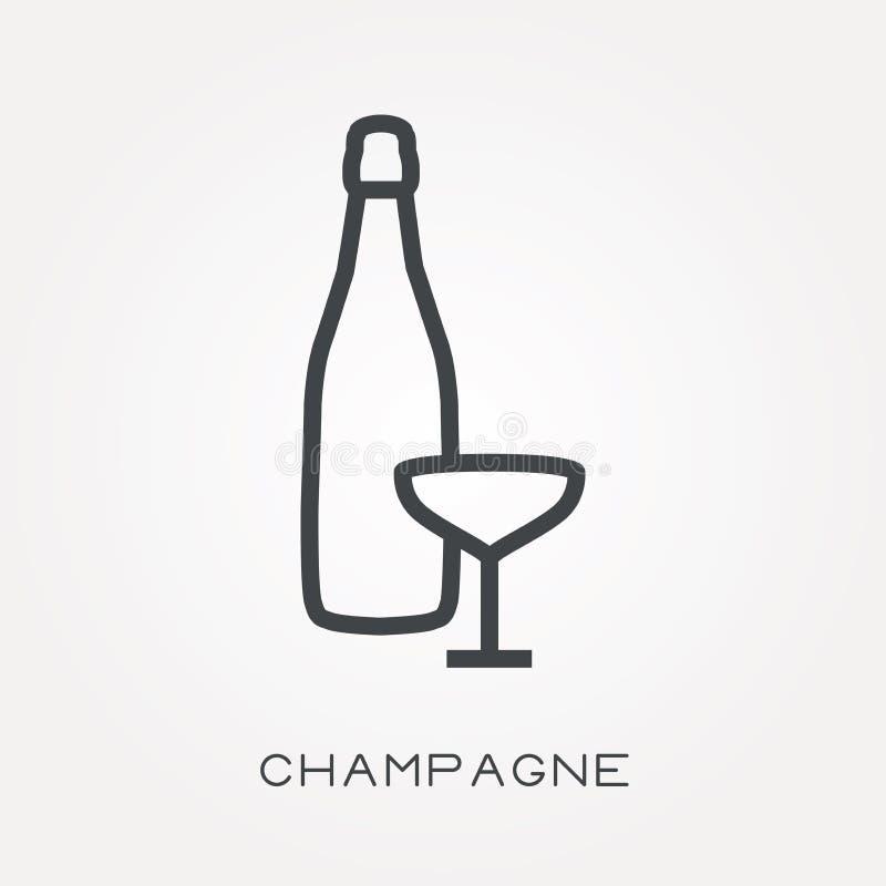 Flache Vektorikonen mit Champagner stock abbildung