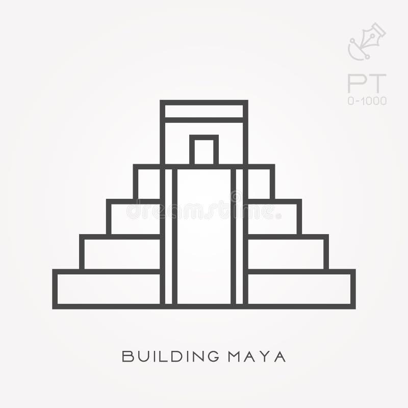 Flache Vektorikonen mit Gebäude Maya lizenzfreie abbildung