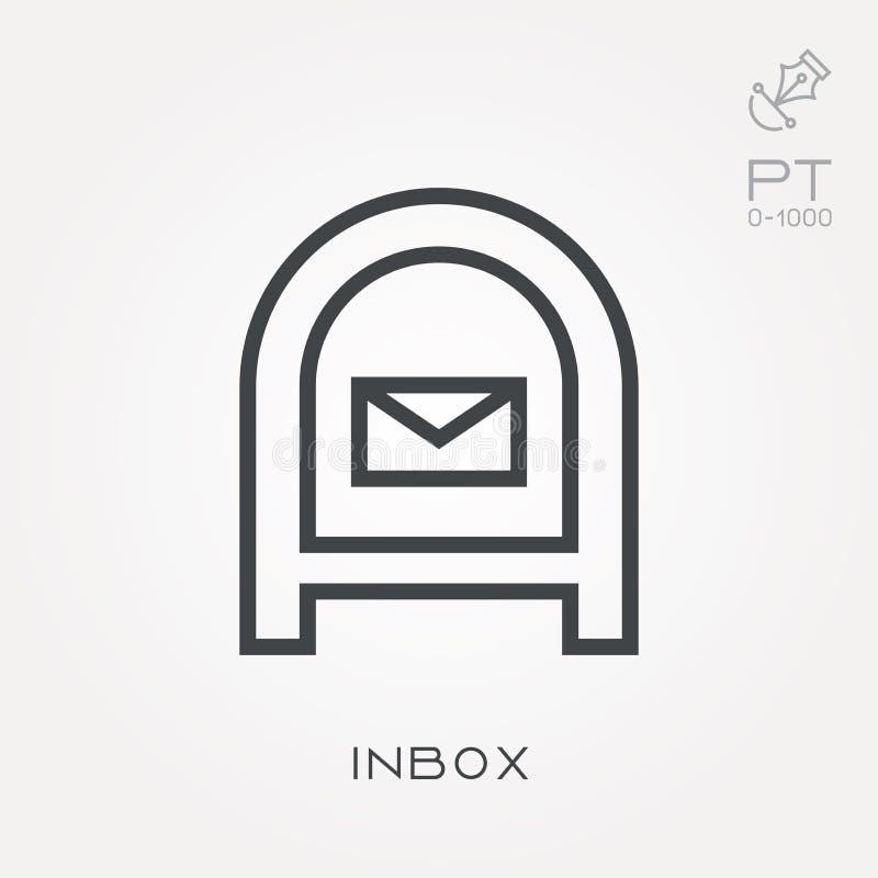 Flache Vektorikonen mit inbox lizenzfreie abbildung