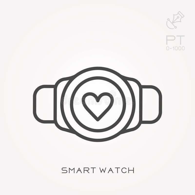 Flache Vektorikonen mit intelligenter Uhr lizenzfreie abbildung
