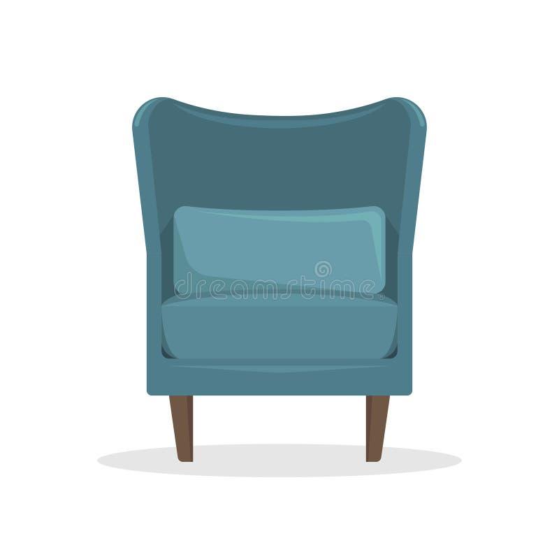 Flache Vektorillustration Blauer Samtlehnsessel im Retrostil stock abbildung