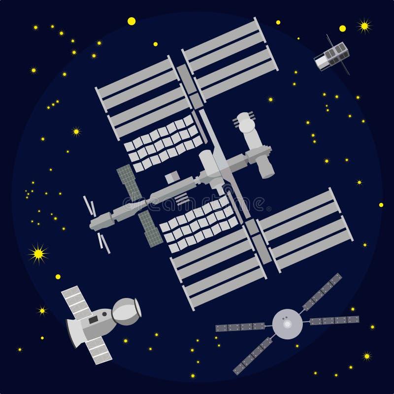 Flache Vektorillustration der internationalen Weltraumstation lizenzfreie abbildung